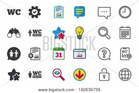 WC Toilet icons. Gents and ladies room signs. Man and woman speech bubble symbol. Chat, Report and Calendar signs. Stars, Statistics and Download icons. Question, Clock and Globe. Vector