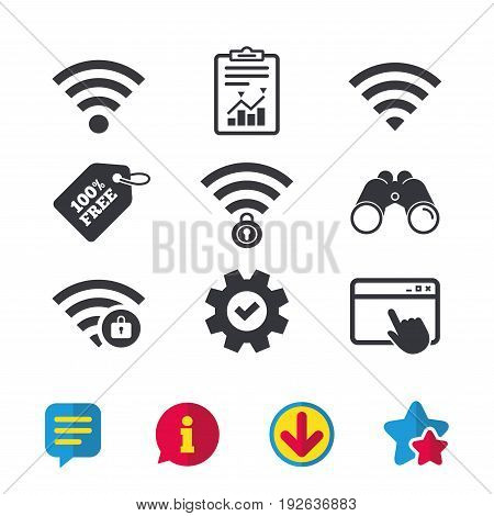 Wifi Wireless Network icons. Wi-fi zone locked symbols. Password protected Wi-fi sign. Browser window, Report and Service signs. Binoculars, Information and Download icons. Stars and Chat. Vector