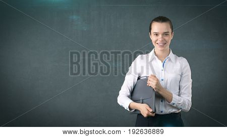 Beautiful Woman With Hair Ban In White Skirt Close Up Portrait With Grey Briefcase,isolated Backgrou