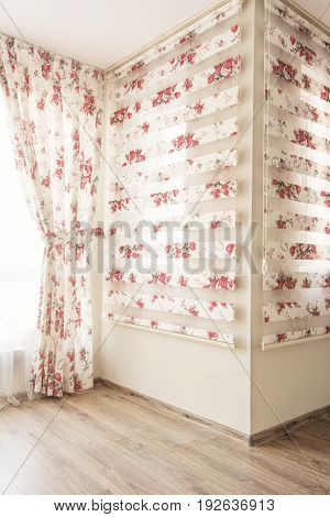 Warm Light Through Sheer White Tulle And Vintage Floral Curtains, Blinds With Red Roses In The Bedro