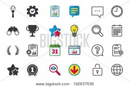 First place award cup icons. Laurel wreath sign. Torch fire flame symbol. Prize for winner. Chat, Report and Calendar signs. Stars, Statistics and Download icons. Question, Clock and Globe. Vector