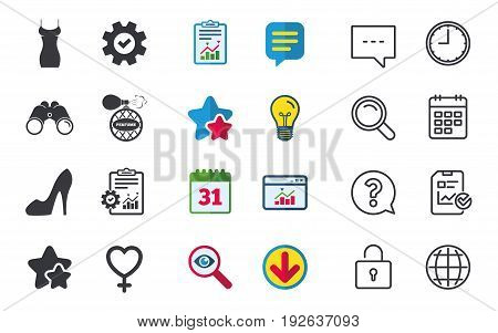 Women dress icon. Sexy shoe sign. Perfume glamour fragrance symbol. Chat, Report and Calendar signs. Stars, Statistics and Download icons. Question, Clock and Globe. Vector