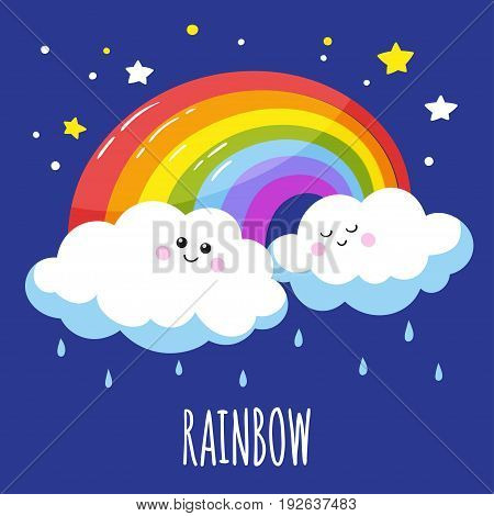 Colorful rainbow and two cute clouds in a cartoon style. Vector illustration is suitable for greeting cards and prints on t-shirts.