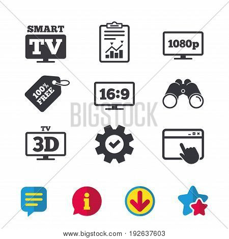 Smart TV mode icon. Aspect ratio 16:9 widescreen symbol. Full hd 1080p resolution. 3D Television sign. Browser window, Report and Service signs. Binoculars, Information and Download icons. Vector