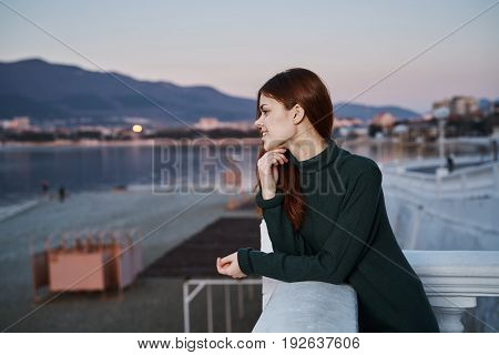 Woman on the waterfront, woman walking, woman on the sea, sea.