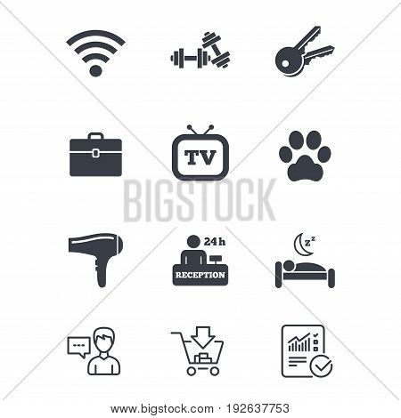 Hotel, apartment service icons. Wi-fi internet. Reception, pets allowed and hairdryer symbols. Customer service, Shopping cart and Report line signs. Online shopping and Statistics. Vector