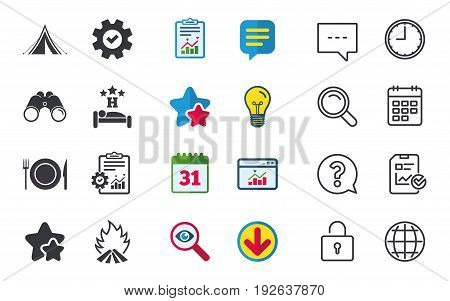 Food, sleep, camping tent and fire icons. Knife, fork and dish. Hotel or bed and breakfast. Road signs. Chat, Report and Calendar signs. Stars, Statistics and Download icons. Question, Clock and Globe