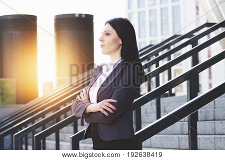 Confident And Successful Leader. Profile Portrait Of Confident And Beautiful Business Woman In Smart
