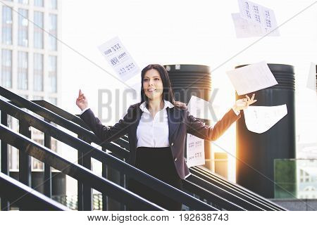 Work Is Done. Portrait Of Business Woman In Smart Casual Wear Throwing Paper Documents Away While St
