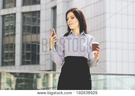 Open For Communication. Portrait Of Confident And Beautiful Business Woman In Smart Casual Wear Usin