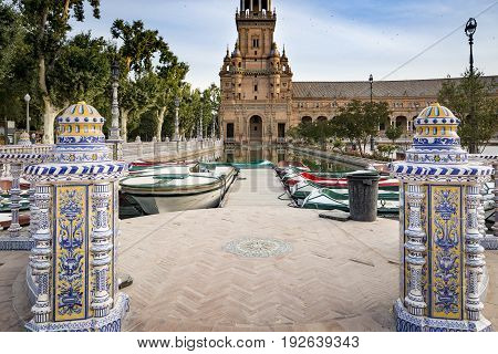 Spain's Square in Seville and a lake with Canoes, Spain
