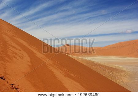 View from the middle of the dune 45 in Namib Desert in Namibia