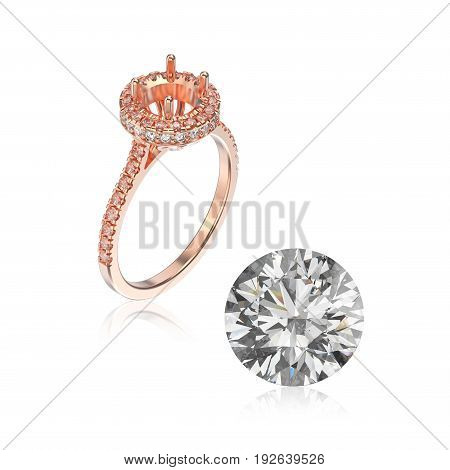 3D illustration rose gold ring without gemstone and round diamond with reflection on a white background