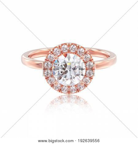 3D illustration rose gold ring with diamonds with reflection on a white background
