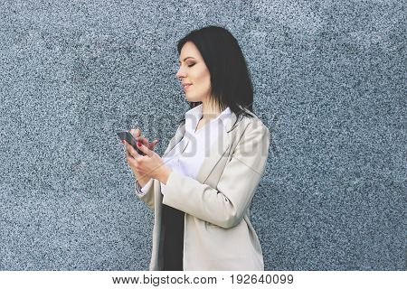 Quick Message For Colleague. Portrait Of Cheerful Attractive Business Woman In Smart Casual Wear Typ