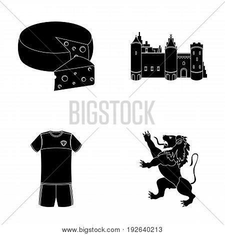 Cheese, lion and other symbols of the country.Belgium set collection icons in black style vector symbol stock illustration .