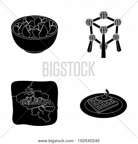 Territory on the map, brussels sprouts and other symbols of the country.Belgium set collection icons in black style vector symbol stock illustration .