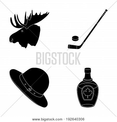 A canadian policeman's hat, a bottle of maple syrup and other Canadian symbols.Canada set collection icons in black style vector symbol stock illustration .