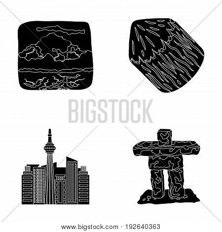 Lakes, mountains, the tower of SI-EN and other symbols of Canada.Canada set collection icons in black style vector symbol stock illustration .
