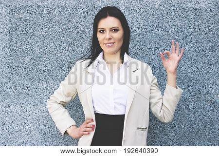 Everything Is Great. Portrait Of Cheerful Attractive Business Woman In Smart Casual Wear Gesturing A