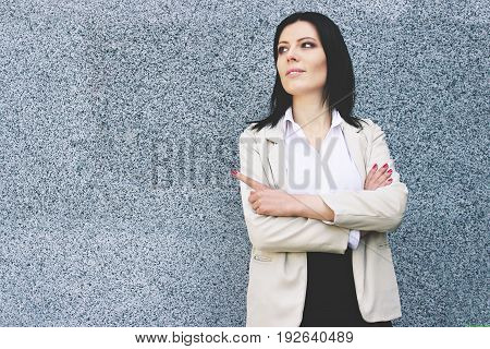 Happy Confidence. Portrait Of Beautiful Young Business Woman In Smart Casual Wear Keeping Her Hands