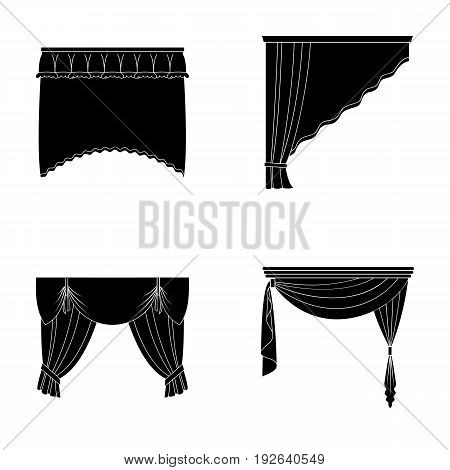 Different types of window curtains.Curtains set collection icons in black style vector symbol stock illustration .