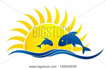 A sun dawn logo in the sea with fishes.