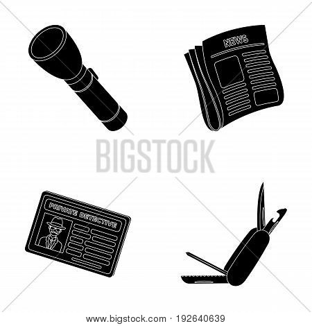 Flashlight, newspaper with news, certificate, folding knife.Detective set collection icons in black style vector symbol stock illustration .
