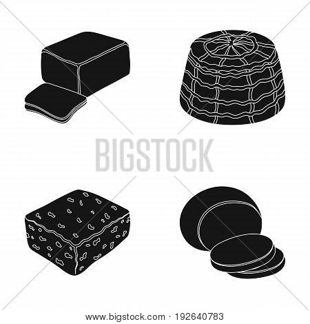 Mozzarella, feta, cheddar, ricotta.Different types of cheese set collection icons in black style vector symbol stock illustration .