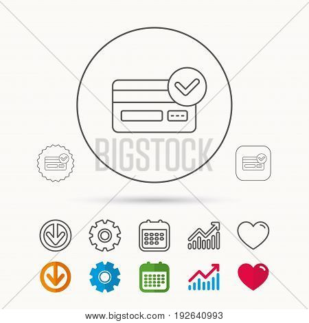 Approved credit card icon. Shopping sign. Calendar, Graph chart and Cogwheel signs. Download and Heart love linear web icons. Vector