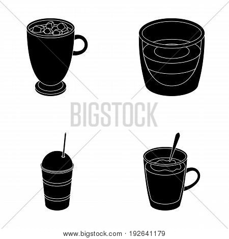Ristretto, hot chocolate, latte take-away.Different types of coffee set collection icons in black style vector symbol stock illustration .