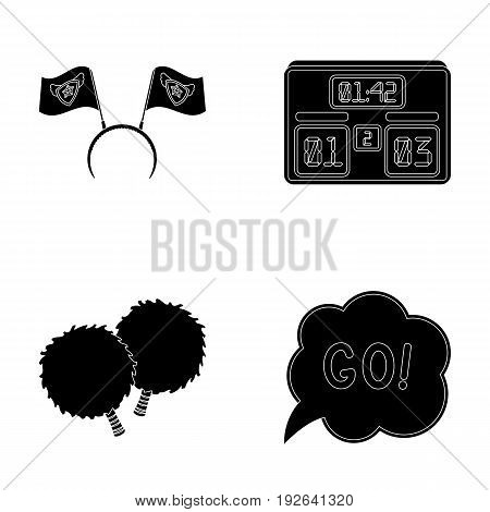 Hoop with flags and other attributes of the fans.Fans set collection icons in black style vector symbol stock illustration .