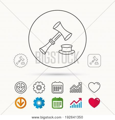 Auction hammer icon. Justice and law sign. Calendar, Graph chart and Cogwheel signs. Download and Heart love linear web icons. Vector