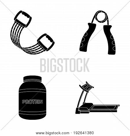 Protein, expander and other equipment for training.Gym and workout set collection icons in black style vector symbol stock illustration .