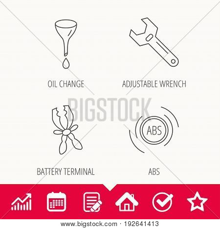 Adjustable wrench, oil change and abs icons. Battery terminal linear sign. Edit document, Calendar and Graph chart signs. Star, Check and House web icons. Vector