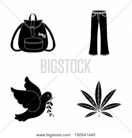 A cannabis leaf, a dove, jeans, a backpack.Hippy set collection icons in black style vector symbol stock illustration.