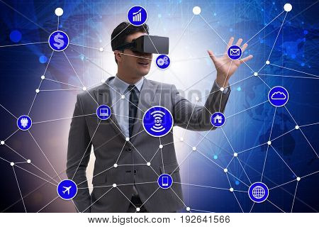 Businessman in smart office concept with vr