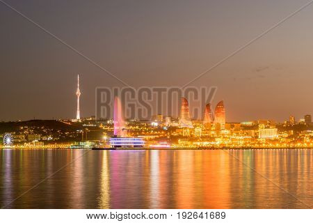 Night view of Baku Azerbaijan during sunset