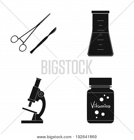 A bank of vitamins, a flask with a solution and other equipment.Medicine set collection icons in black style vector symbol stock illustration .