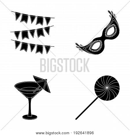 Garlands, cocktail and other accessories at the party.Party and partits set collection icons in black style vector symbol stock illustration .