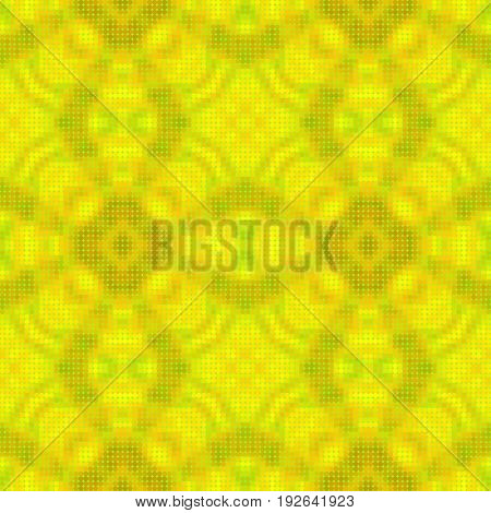 Abstract seamless dotted kaleidoscopic pattern. Green, yellow and orange pattern with intertwined geometric shapes