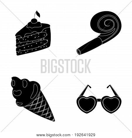Refreshments and other accessories at the party.Party and partits set collection icons in black style vector symbol stock illustration .