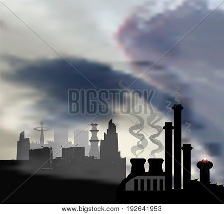 Dark landscape with modern panoramic city and chemical factory in the foreground. Gray, black and white sky with clouds of smog and skyscrapers