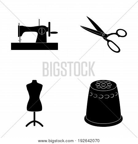 Manual sewing machine, scissors, maniken, thimble.Sewing or tailoring tools set collection icons in black style vector symbol stock illustration .