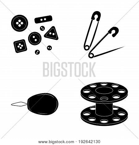 Buttons, pins, coil and thread.Sewing or tailoring tools set collection icons in black style vector symbol stock illustration .