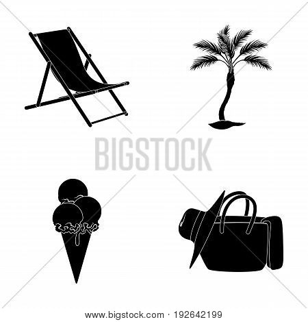 Beach, palm tree, ice cream.Summer vacation set collection icons in black style vector symbol stock illustration .