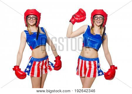 Funny boxer isolated on white