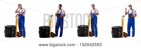 The tyre repairman with trolley isolated on white