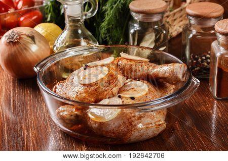 Raw Chicken Legs Marinated