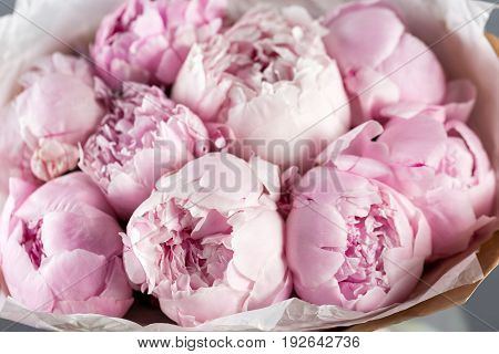 Pink peonies in vase on wooden floor and bokeh background - retro styled photo. soft focus. close-up